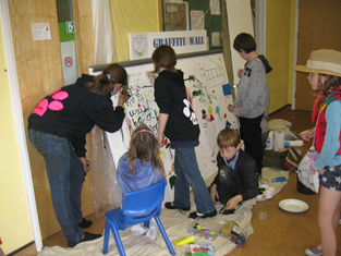 Children creating a drawing