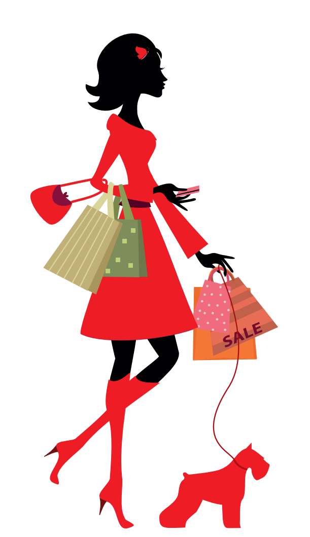Sketch of woman with shopping and dog on lead