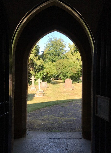 A view out of a church door